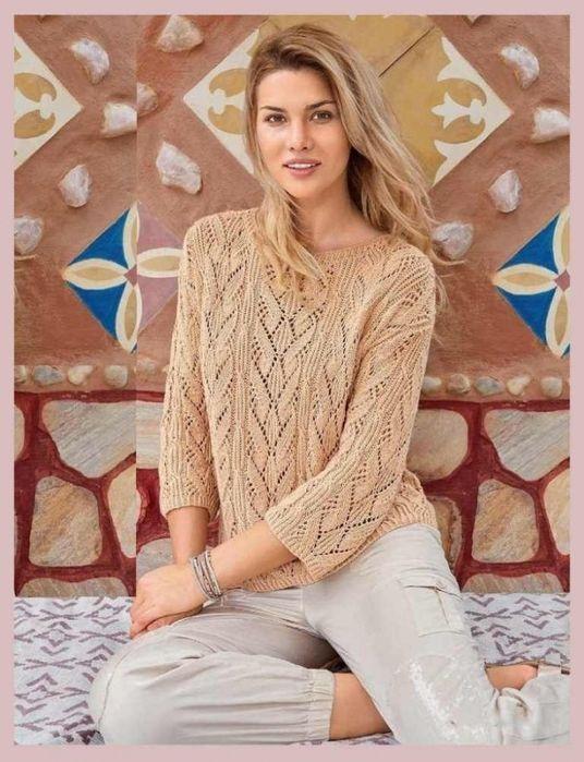 Озорные петельки: Узорчатый пуловер цвета пудры
