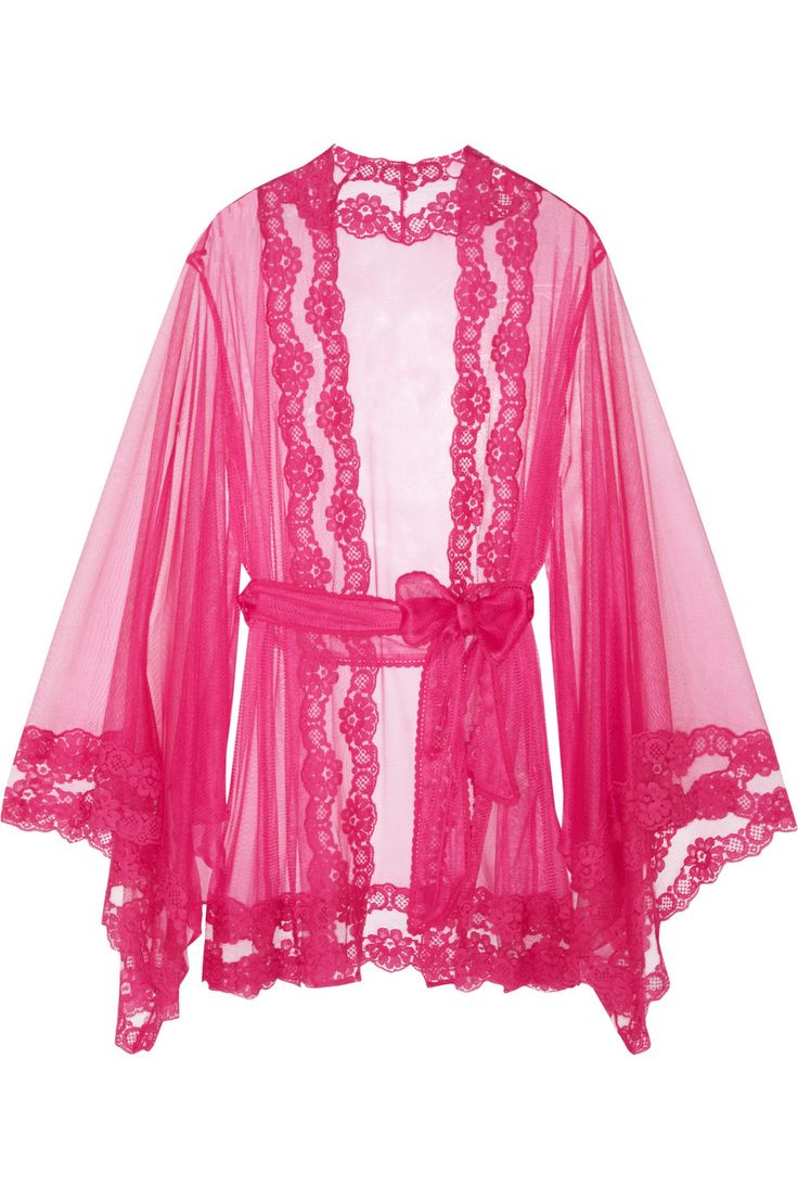 Agent Provocateur|Lacy Kimono lace-trimmed tulle robe