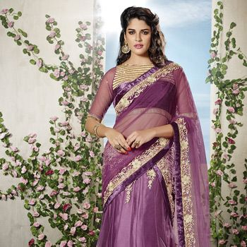 Light Magenta Net Lehenga Choli with Dupatta