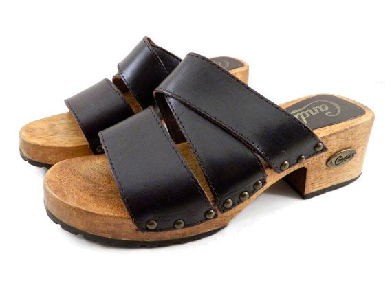 90s Vintage Candies Slip On Low Platform Sandals Brown
