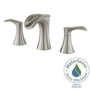Pfister Brea 8 in. Widespread 2-Handle Waterfall Bathroom Faucet in Brushed Nickel LF-049-BRKK at The Home Depot - Mobile