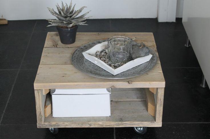 Salontafel steigerhout op wielen   Steigerhouten meubelen   Ideas Styling  u0026 Houttrendz   thuis