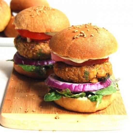 Chana Masala Burger with Mint Chutney Mayo.