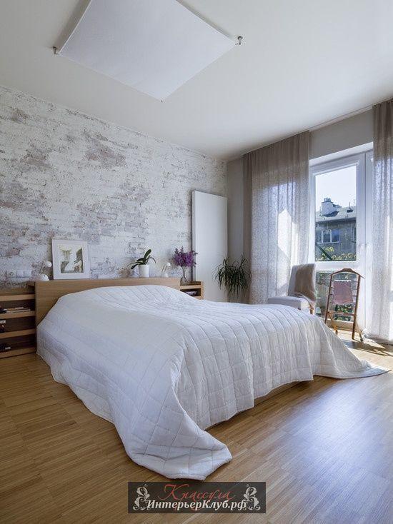 41 Белая кирпичная стена в интерьере спальни, белые кирпичные стены в спальне, кирпичные стены в интерьере фото