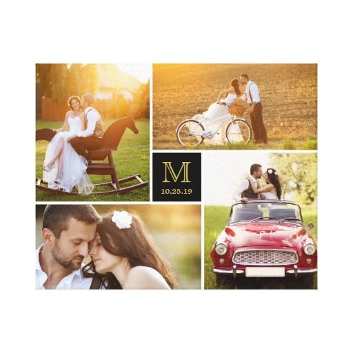 Stylish Monogram Wedding Photo Collage Canvas Canvas Print