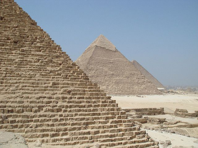Pyramids of Giza on the outskirts of Cairo, Egypt