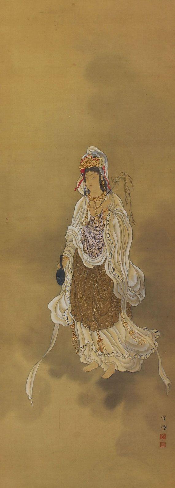 Willow Trees and Kannon Guanyin the Goddess of Mercy Kakejiku.