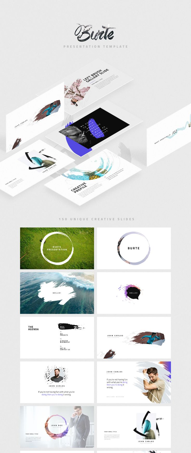 A powerful & creative slide presentation available for PowerPoint and Keynote. It comes with 150+ unique presentation slides with great professional layout and creative design. Burte makes it easy to change colors, modify shapes, texts, & charts, all shapes are editable. Includes a fabulous set of 800 vector icons and Apple device mockups.