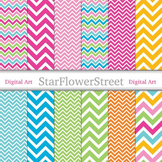 Instant Download - Chevron Digital Paper Scrapbook Background - bright colors pink blue turquoise lime green yellow scrapbooking photography...
