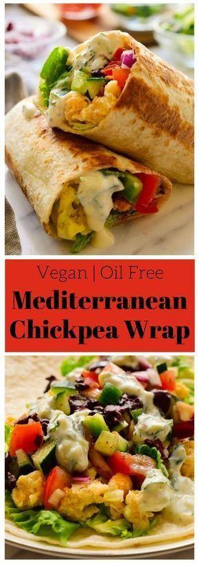 Diese veganen mediterranen Wraps enthalten zertrümmerte Kichererbsen, buntes Gemüse und …