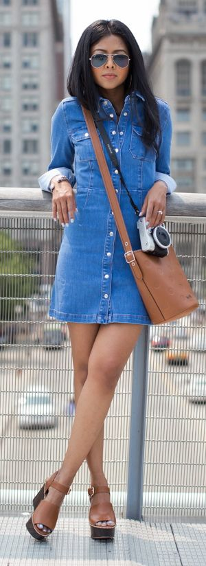 Denim dress - like the button/snap front, absence of tie waist, looks comfy and cute.
