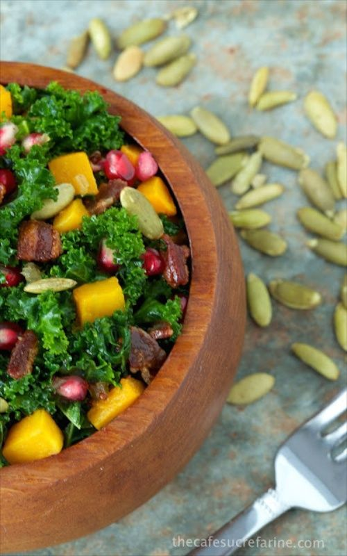 """Massaged Kale and Butternut Squash Salad with Warm Apple Cider Dressing - I didn't think I like kale in salads  till I tried this simple """"massaging"""" technique. Now they're on our menu quite frequently. This one's a favorite - It's so pretty and so tasty!"""