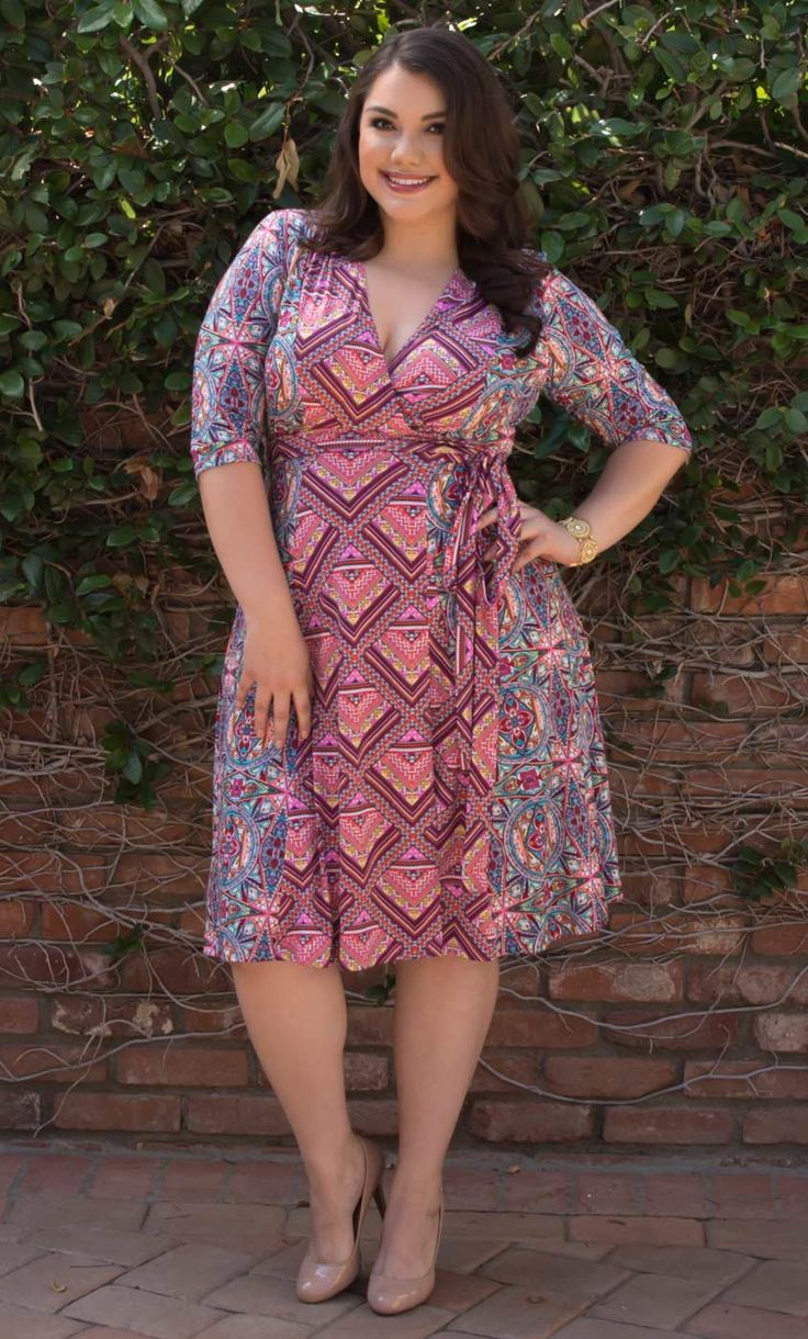 Have fun with prints with our plus size In the Mix Wrap Dress.  A classic silhouette and simple design gets amped up with two playful patterns mixed together.  Find more made in the USA fashion at www.kiyonna.com.  #KiyonnaPlusYou
