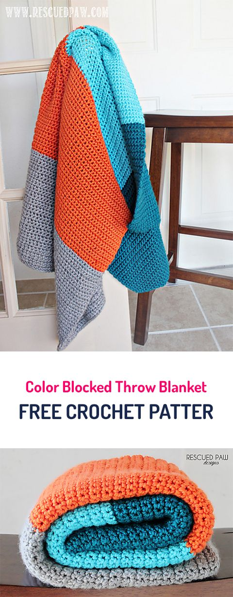 Color Blocked Throw Blanket Free Crochet Pattern       ~ I like these colors for baby boy nursery.
