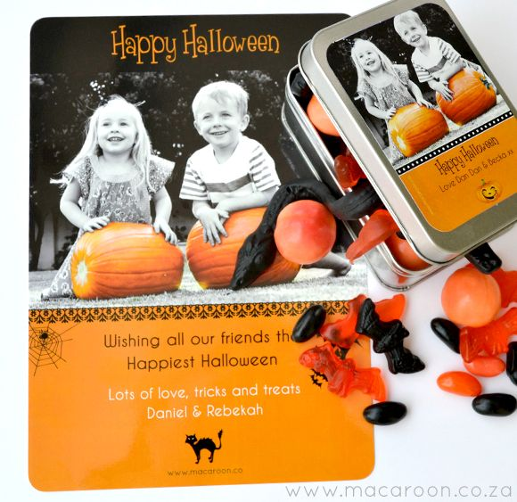 Using small tins or plastic containers, add a Macaroon personalised sticker, and fill with sweets for your little Trick-or-Treaters http://www.macaroon.co/macaroon/content/en/macaroon/halloween