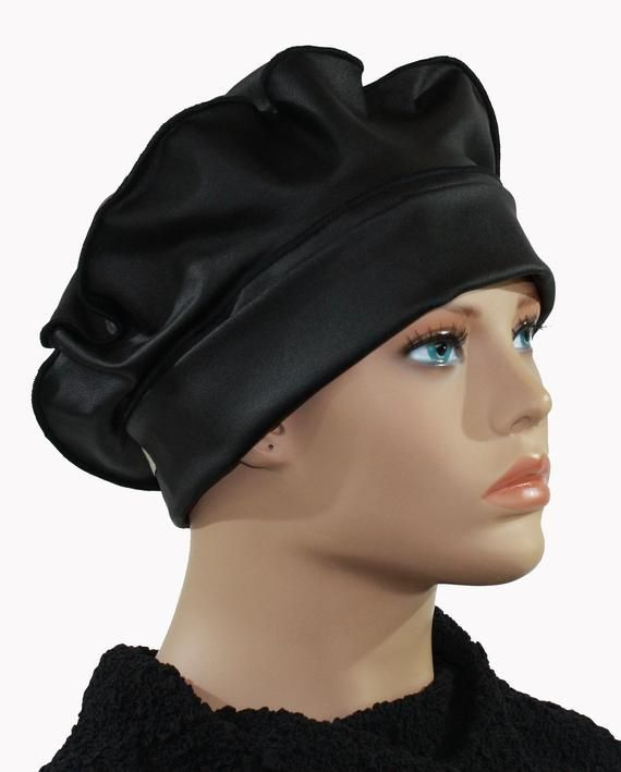 Black leather cap Feather leather beret leather beanie hat leather ...