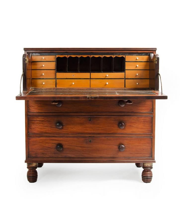 Important Colonial Australian Secretaire chest, Sydney origin. Rose mahogany veneer on cedar with fitted huon pine interior. Refined & elega...