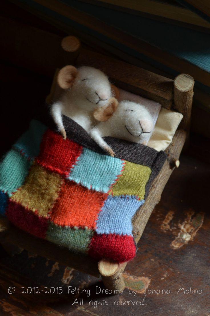 Sleeping Mice quilting unique needle felted por feltingdreams
