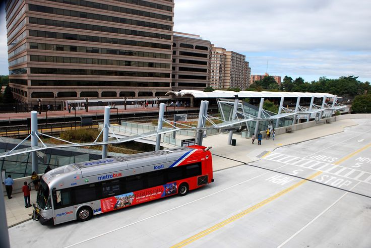 Bus depot and elevated Metro station Silver Spring MD USA [OC][3872 x 2592]