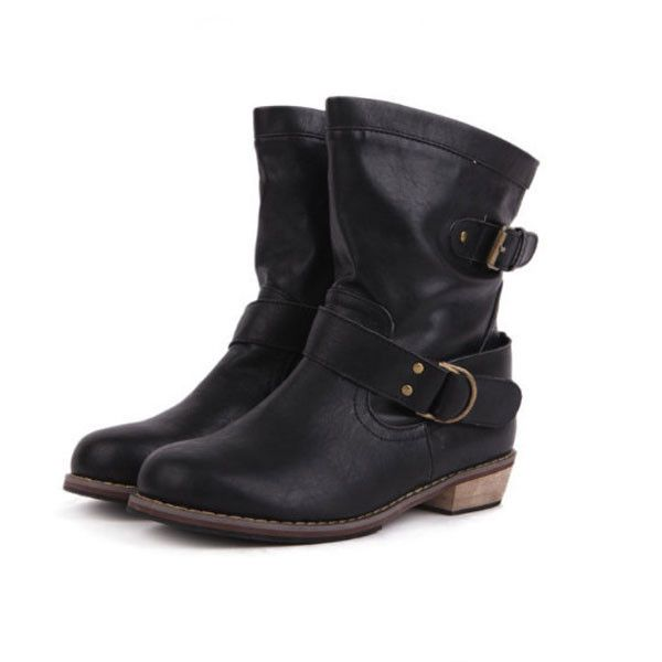 Ladies Flat Heel Vintage Buckle Ankle Motorcycle Boots These Flat Heel Vintage Buckle Ankle Boots are not only comfortable motorcycle boots, but they make a fashion statement in all your casual wear including jeans, shorts or skirts. These boots features a fashion buckle design and are available in black or brown color.