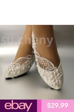 b3326081934 su.cheny Lace white ivory pearls flats low high heel pumps Wedding ...