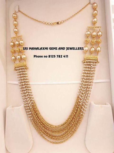 Multi Layers Small Pearls Gold Swirls Set