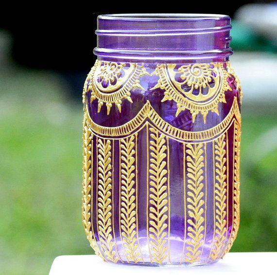 PURPLE Mason Jar Adorned with Trendy Henna Designs Moroccan Bohemian Themed Lanterns Wedding Party Holiday Events Decor