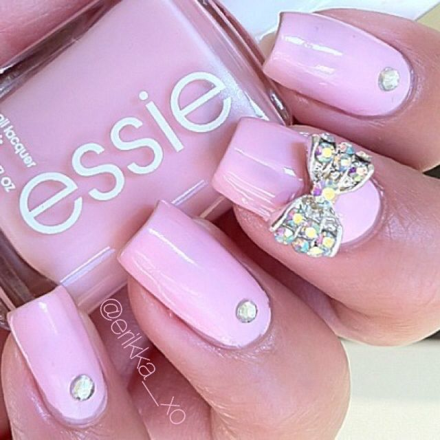 Pink nails with bow | Nails nails nails! :D | Pinterest