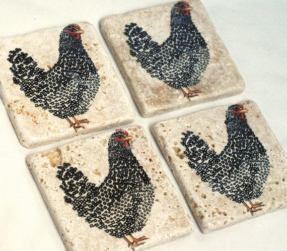 """Set of 4 handmade """"FARMHOUSE CHICKEN"""" natural stone tile coasters on Etsy, $25.89"""