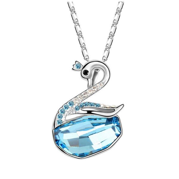 Swarovski Elements Swan Shape Blue Crystal Pendant by Trendymela.com