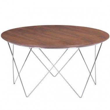 Modern Round Walnut Coffee Table With Metal Base Macho