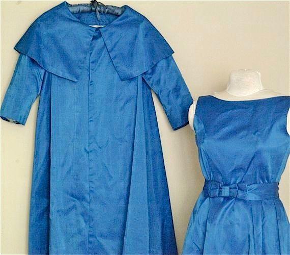Vintage Evening Blue Satin Dress and Coat by SouthernLadyEstates
