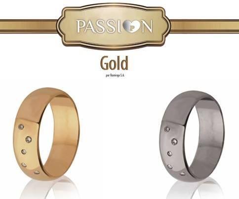 Alianças de Casamento PASSI♥N GOLD  Ouro Amarelo   Ouro Branco Ouro 19k   Ouro 9K 6.4mm 5 Brilhantes   5 Zircónias