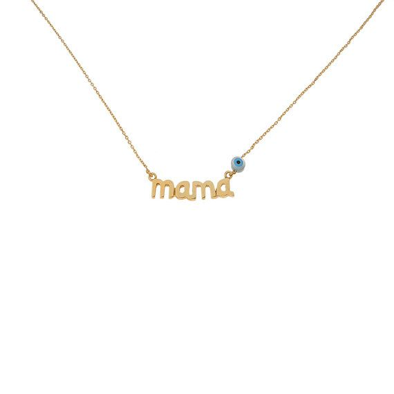 Mama silver necklace with evil-eye New Mom by AntEvaCrafts on Etsy
