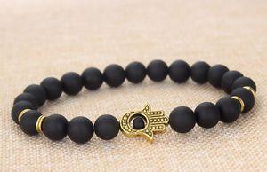 2015 Hot Black Matte Agate Stone Gold Hamsa Beaded Yogo Bracelet L08 Unisex | eBay
