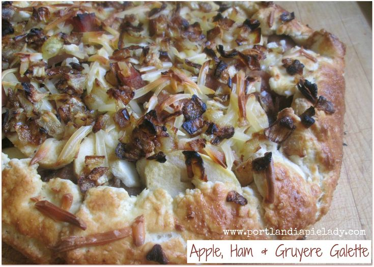 Rustic Apple, Ham & Gruyere Galette: Layers of Crisp Tart Apples, Smokey Ham, and Gruyere Cheese with Balsamic-Honey Mustard in a rustic Galette crust will keep your taste buds wanting more!