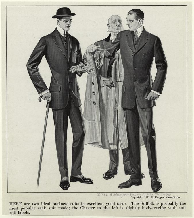 Moda masculina en 1912.