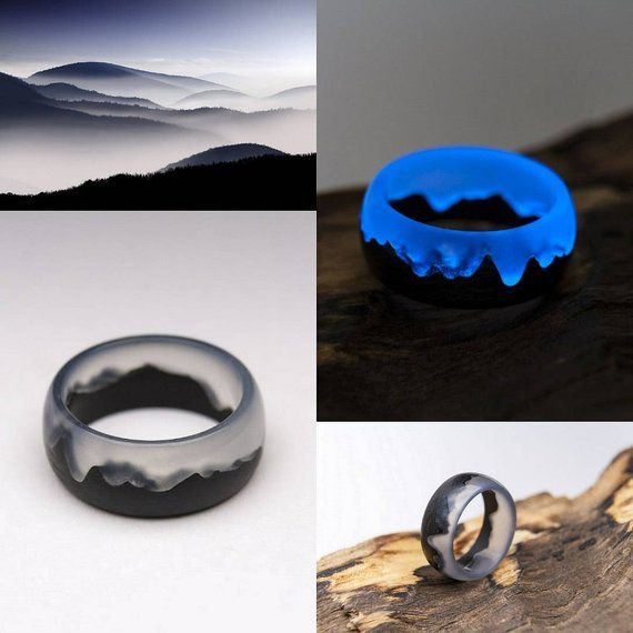 Mysterious World wooden resin ring Eco epoxy jewelry Green Wood ring the secret of the magical world in a tiny landscape glow ring wood ring