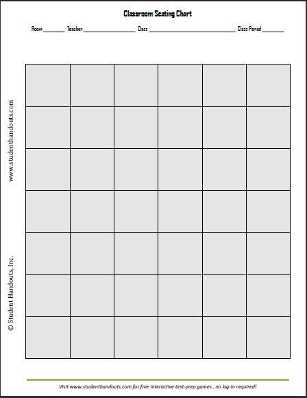 printable 6 x 7 classroom seating chart