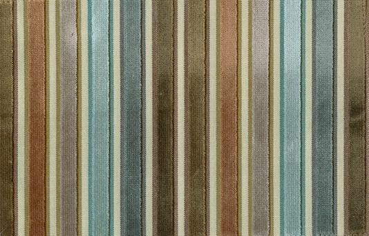 Canoga Velvet Aqua, grey, tan and taupe striped velvet fabric