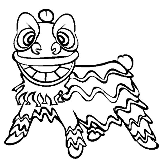 chinese new year lion dance coloring page