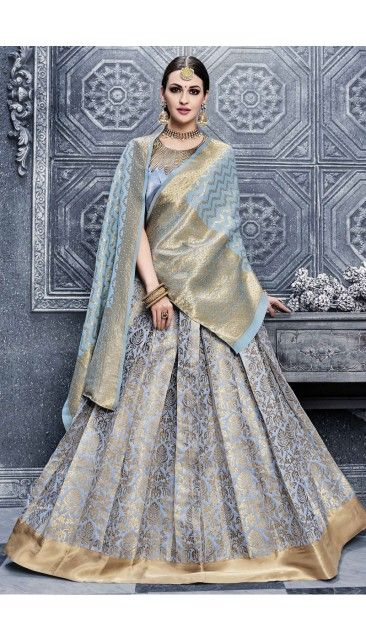 Grey Banarasi Silk Lehenga With Fusing Choli - DMV11361