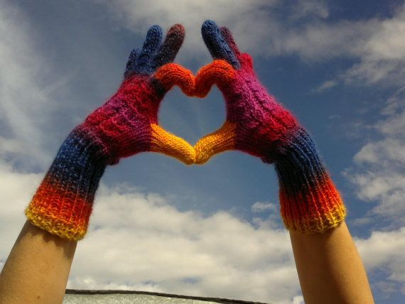 Multicolor Hand Knit Gloves Wool Wrist Warmers Autumn by dodofit, $32.00
