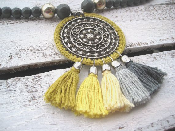 Yellow Grey crochet pendant necklace with ombre by zetaemme, £29.00