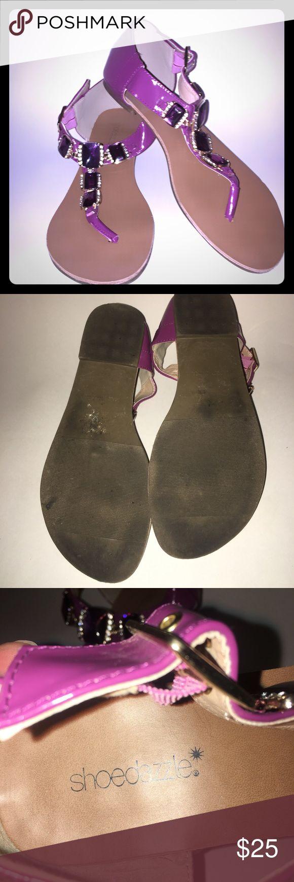 Shoedazzle sandals  like new Shoedazzle sandals  purple with purple gems worn one time like new size 8.5 shoedazzle Shoes Sandals