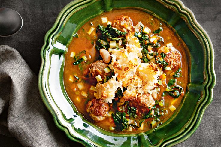 Load up on winter veg in this hearty ribollita with Italian pork meatballs.