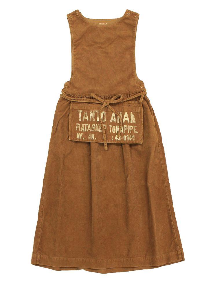 sleeveless brown pinafore apron dress, camel tan