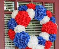 Red, white and blue paper flower wreath