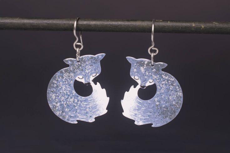 Grey Fox Earrings, Whimsical Jewelry, Fox Jewelry, Dainty Design, Woodland Earrings, Playful Animal Jewelry, Animal Earrings, Cute Earrings by CinkyLinky on Etsy