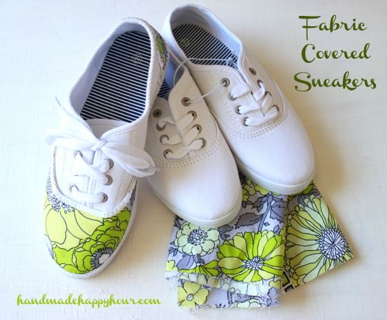Use fabric, mod podge, and cheap white sneakers to add value and color! Fun DIY Fashion makeover craft.